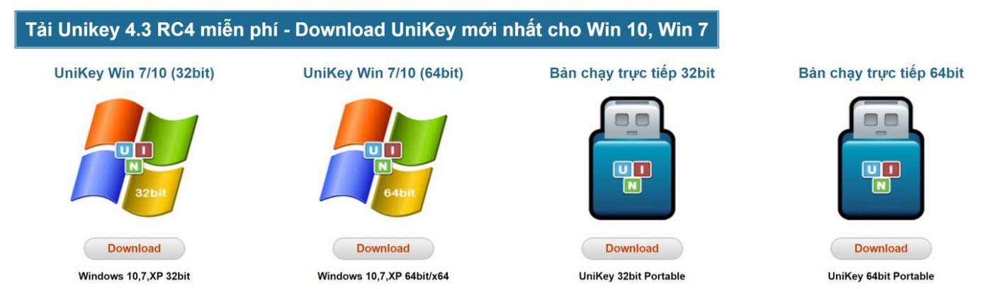 Các phiên bản của phần mềm gõ tiếng việt UniKey