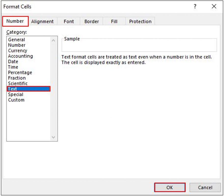 Chọn kiểu Text trong Format Cells