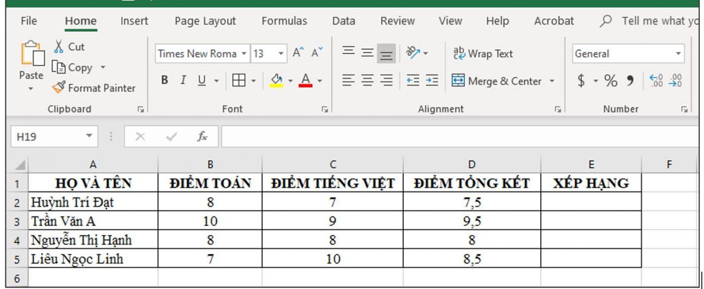 dữ liệu ví dụ
