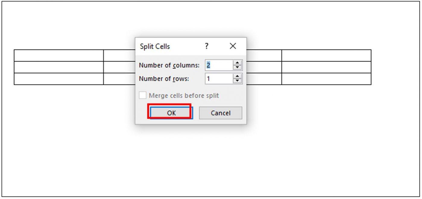chọn số cột số dòng cần tách ra từ 1 ô
