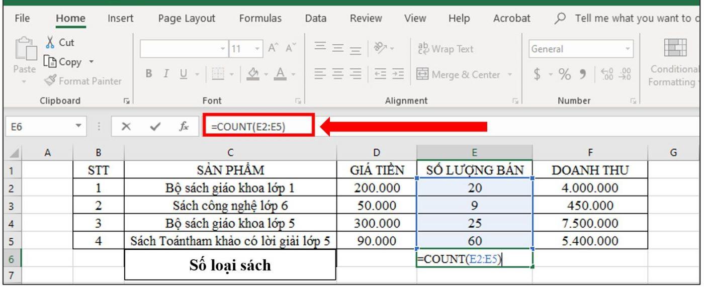 sử dụng hàm count để đếm