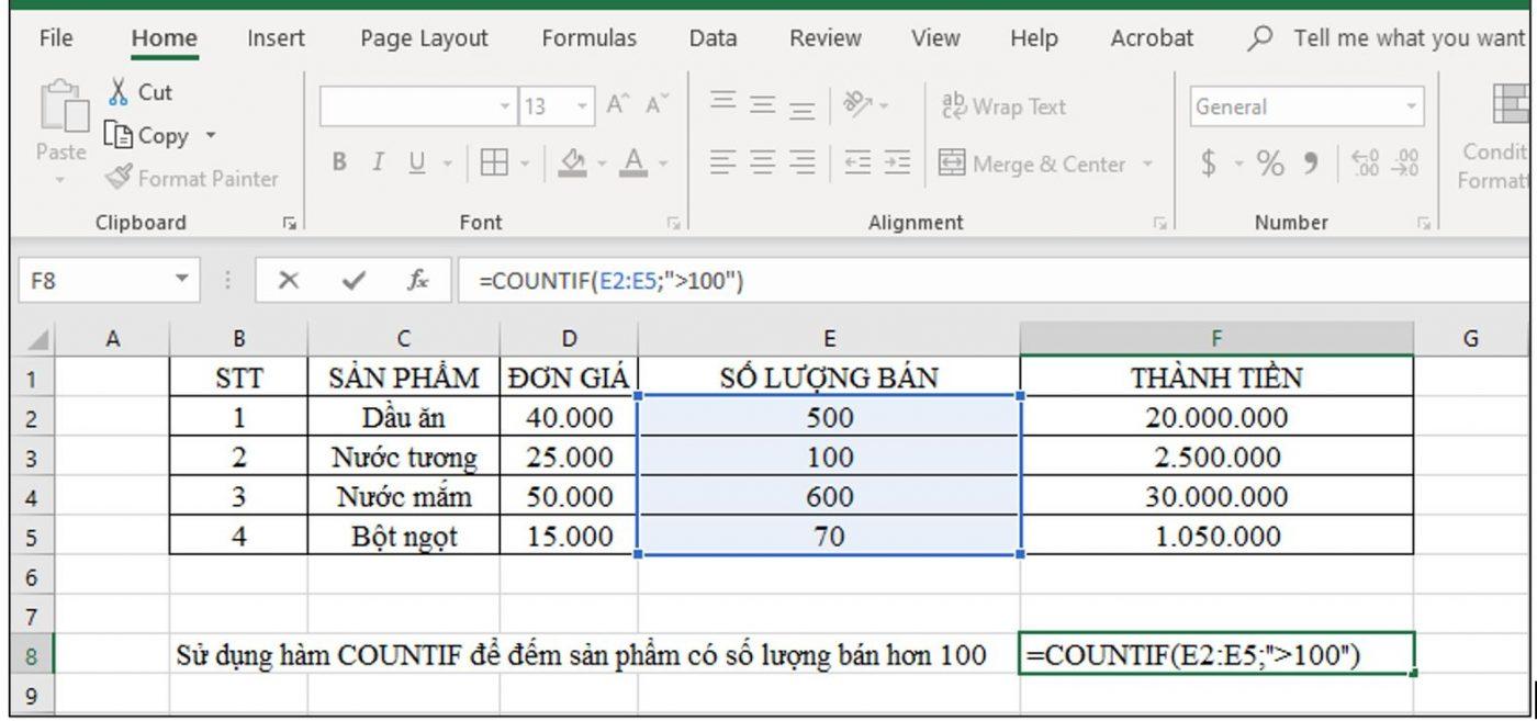 sử dụng hàm countif để đếm